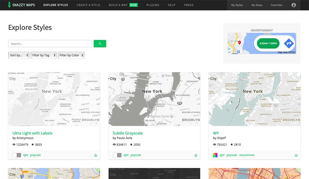 Snazzy Maps per creare mappe personalizzate
