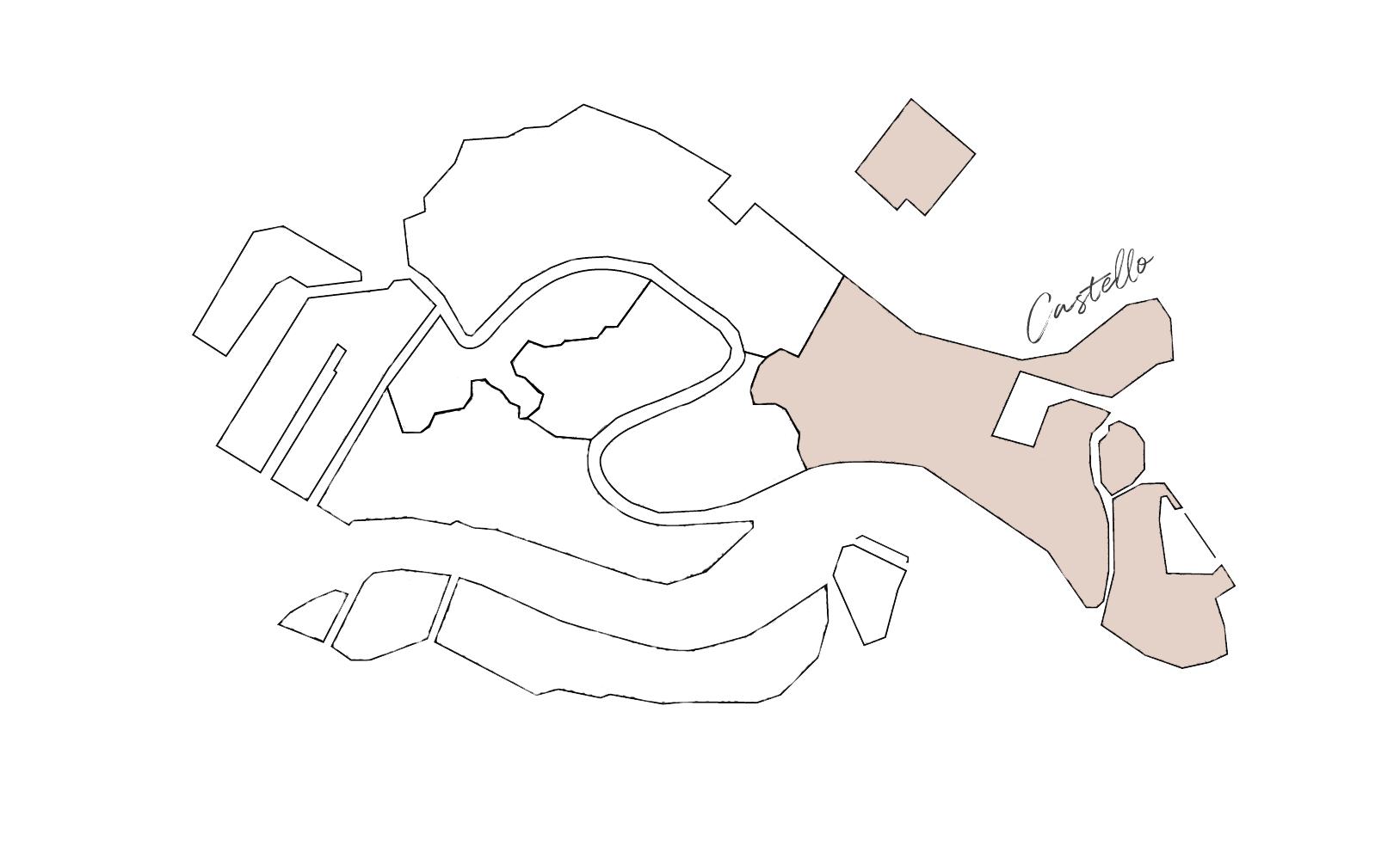 Sestieri di Venezia: cartina di Castello