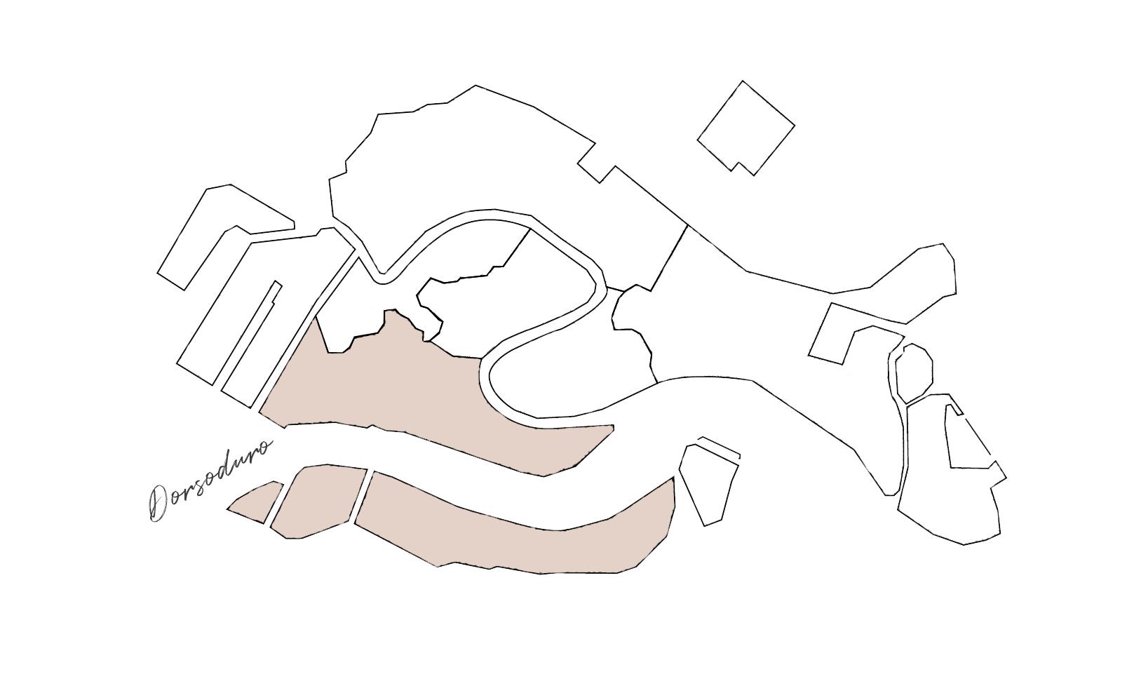 Sestieri di Venezia: cartina di Dorsoduro