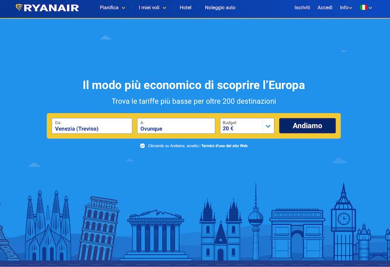 Schermata Ryanair ricerca voli per budget