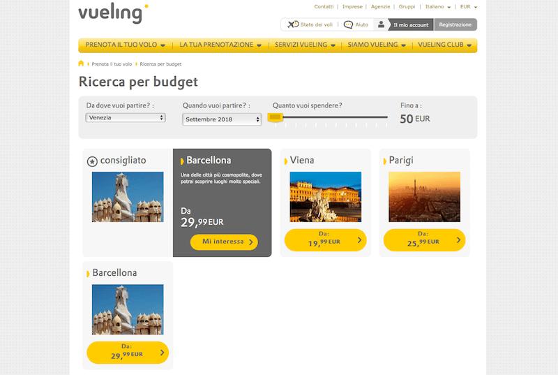Schermata Vueling ricerca voli per budget