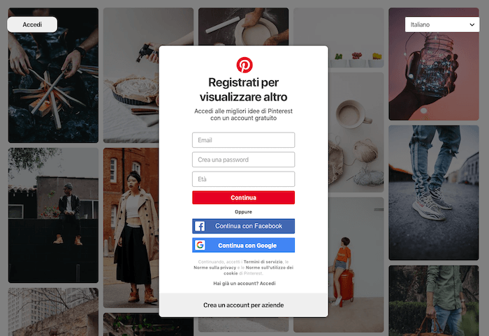 Crea account Pinterest