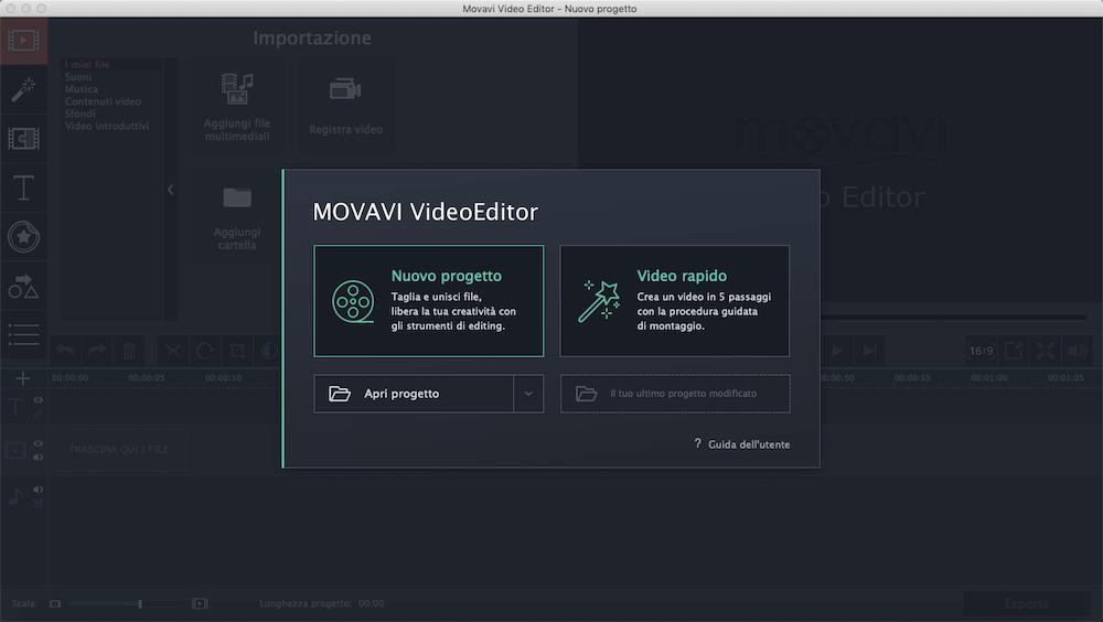 schermata Movavi programmi di video editing