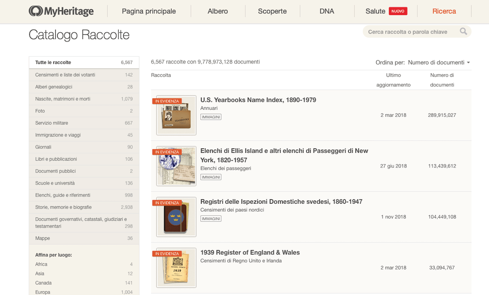 Catalogo raccolte MyHeritage