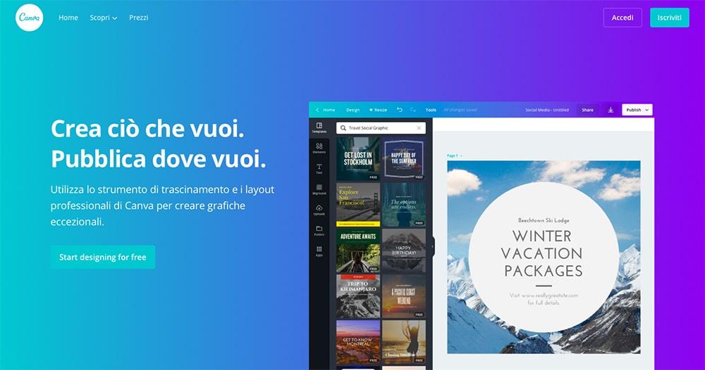 Progettazione grafica - Canva schermata